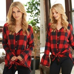 DARIAN Plaid Front Tie Top - RED